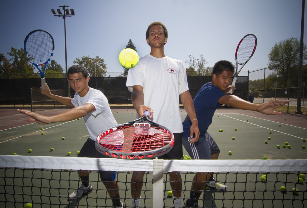 Tennis team athletes David Engelberg, Nathan James Crosby, and Richard Catabona Pose at the tennis court on Monday Sept. 26, 2011. Photo: Jose Romero