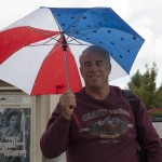"Paul Milberg, 67, a part time student who participates in the Encore Program, is always prepared for the rain because ""I was a Boy Scout, our motto was 'be prepared."" at Pierce College, Calif. on Oct. 11, 2012."