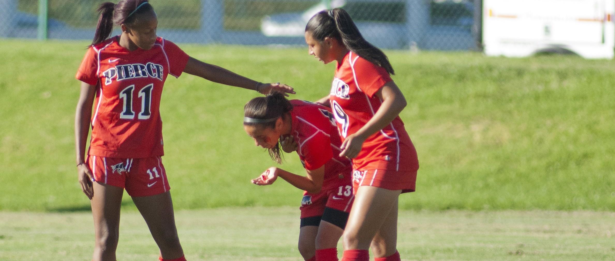 Star player injured in women's soccer win