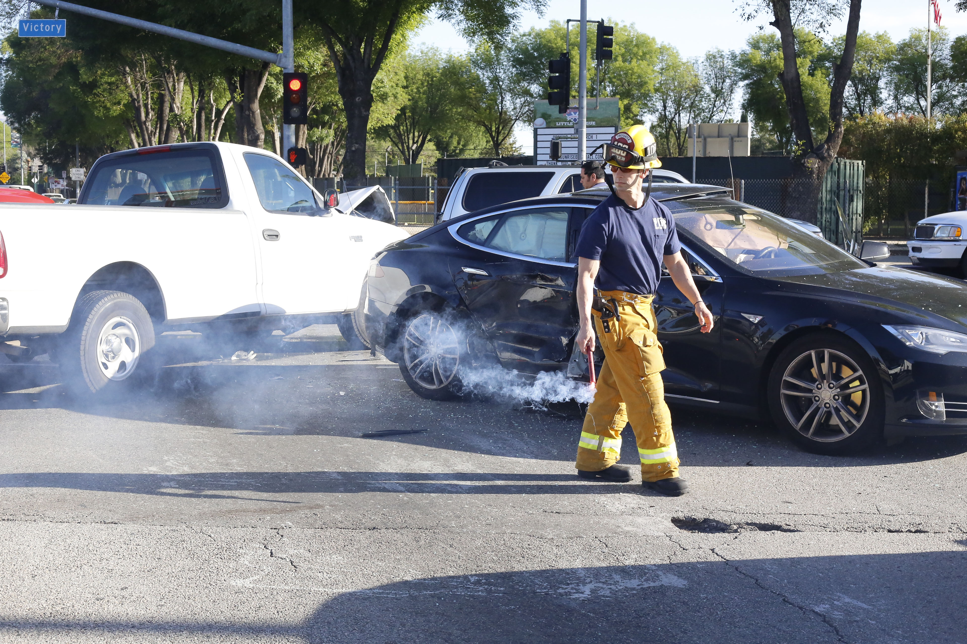 Seven car accident at Pierce College intersection