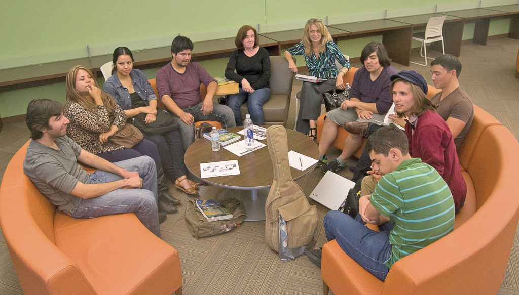 The French club doing charades in the ASO room at Pierce College in Woodland Hills, Calif. on Thursday, April 24, 2014. They are playing Charades and answering in French the answers. Photo: Marc Dionne