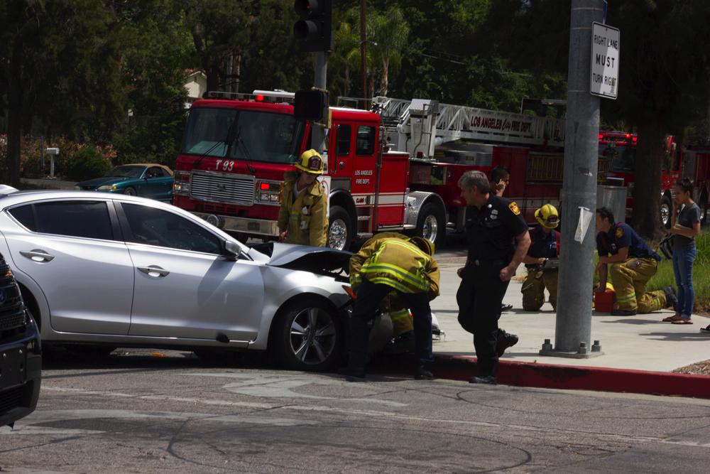 Traffic accident near Pierce College, no injuries