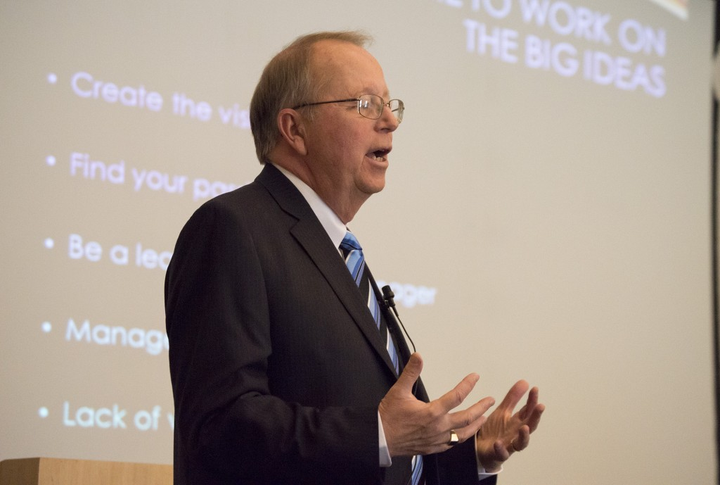 """Former Pierce College President, Darroch """"Rocky"""" Young, gives a presentation on leadership in the Great Hall of Pierce College in Woodland Hills, Calif., on Monday, May 5, 2014. Photo: Fidencio Marin"""