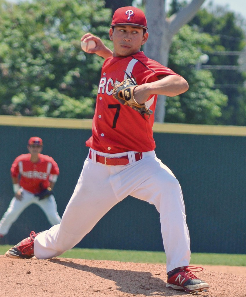 Harsa Aditya pitches in the 3nd inning for Pierce College, he would get the win in a 3 -1 victory for Pierce over Cerritos College on May 3rd in Cerritos, Calif. James H Channell the Roundup News