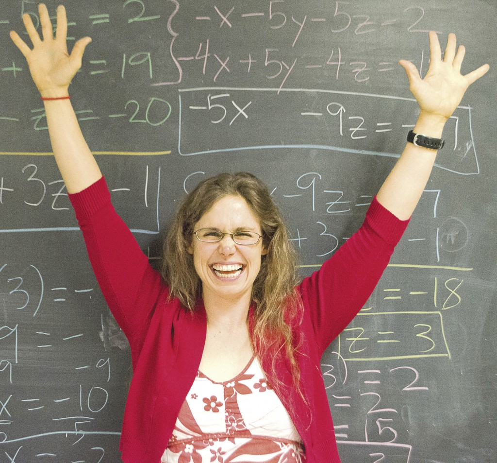 Kristin Lassonde, one of the new math professors, shows her excitement after solving a matrix equation at Pierce College. Photo: Stephen Castaneda