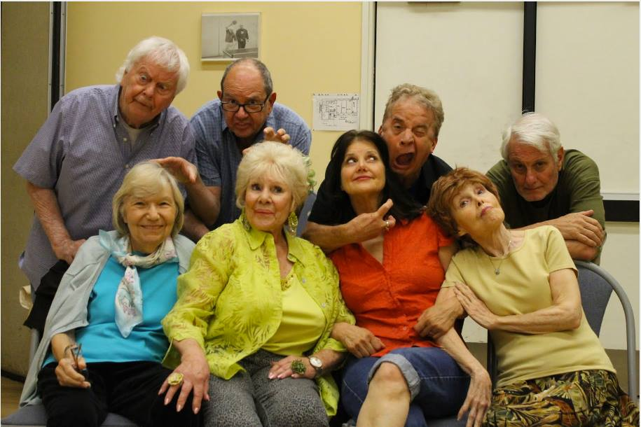 """""""The Spring Chickens, top row from left to right: Ulf Helgesson, Frank Bonoff, Jimmy Wagner, and Mike Farrow. Bottom row from left to right:  Shirley Dougherty, India Adams, Diana Shore,and Debbie Stavitsky. Photo Credit Richie Zamora"""""""