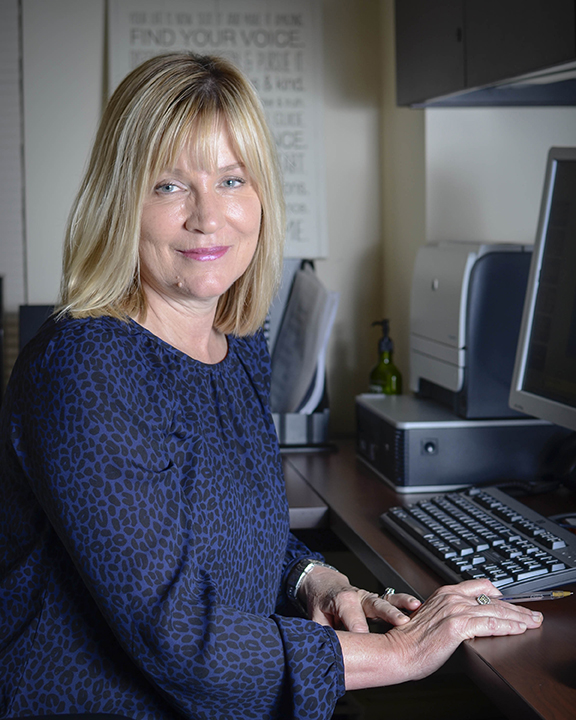 New Academic Counselor, Norine Fine poses for a portrait in her new office located in the Student Services building at Pierce College in Woodland Hills, Calif.Photo: Stacy Soriano