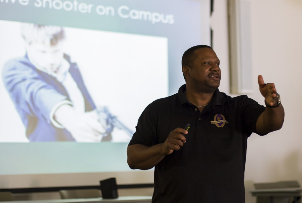 Melvin McGuire, a consultant with Embassy Consulting Services, speaks to Faculty and Students in the Great Hall of Pierce College in Woodland Hills, Calif., on Oct. 22, 2014. McGuire, a former Long Beach Police Department Sgt., now conducts safety training for the worst possible scenarios. Photo: Nicolas Heredia