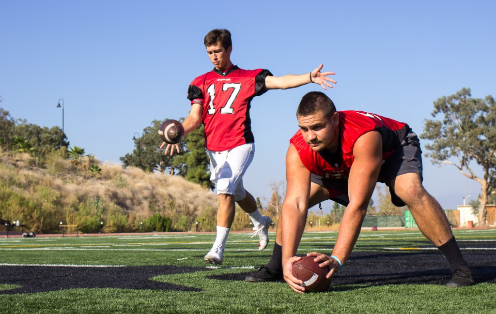 Brahmas kicker Jamie Sutcliffe and long snapper Blake Word pose for a portrait at Shephard Stadium of Pierce College in Woodland Hills, Calif., on Oct., 9, 2014. Sutcliffe was convinced to come to Pierce by long time friend and teammate Word after playing for the University of Utah. Photo: Nicolas Heredia