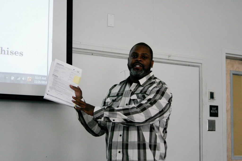 Adjunct instructor of business administration Norris Dorsey talks about how to create a business at the Entrepreneur Training Workshop on Nov. 21, 2014, at Pierce College, Woodland Hills Calif.