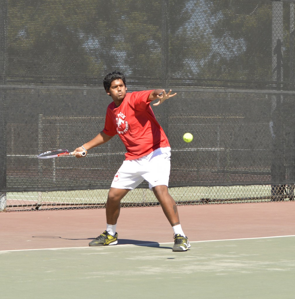 Pierce vs. Glendale Tennis Game, Manish Kumar from Pierce, gets ready to take the shot, at Pierce College Tennis Courts in Woodland Hills, Calif, on Thursday March 12, 2015 at 2:00pm, Manish swings his tennis raquet, and gets ready to time his hit with his pose ready. (Photo by: Andrew Caceres)