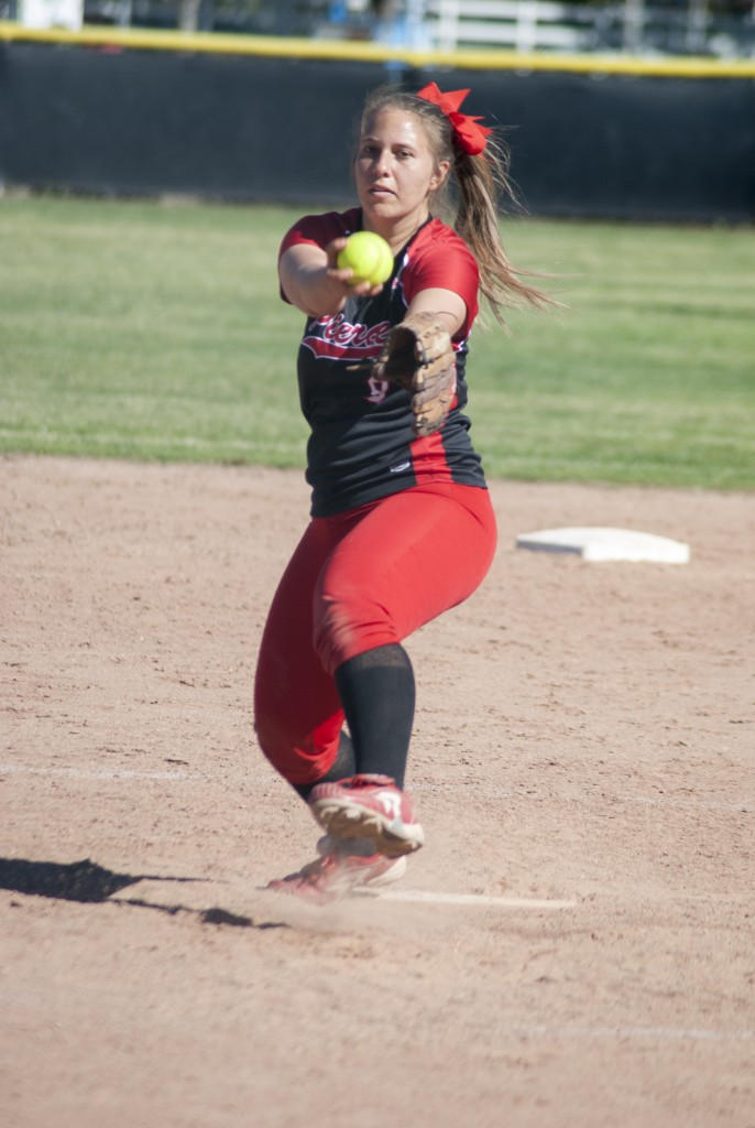 Nicole Lindeman pitches for the Pierce College womans Softball team. Friday, March. 6. 2015. Woodland Hills, Calif. Photo: Titus Littlejohn