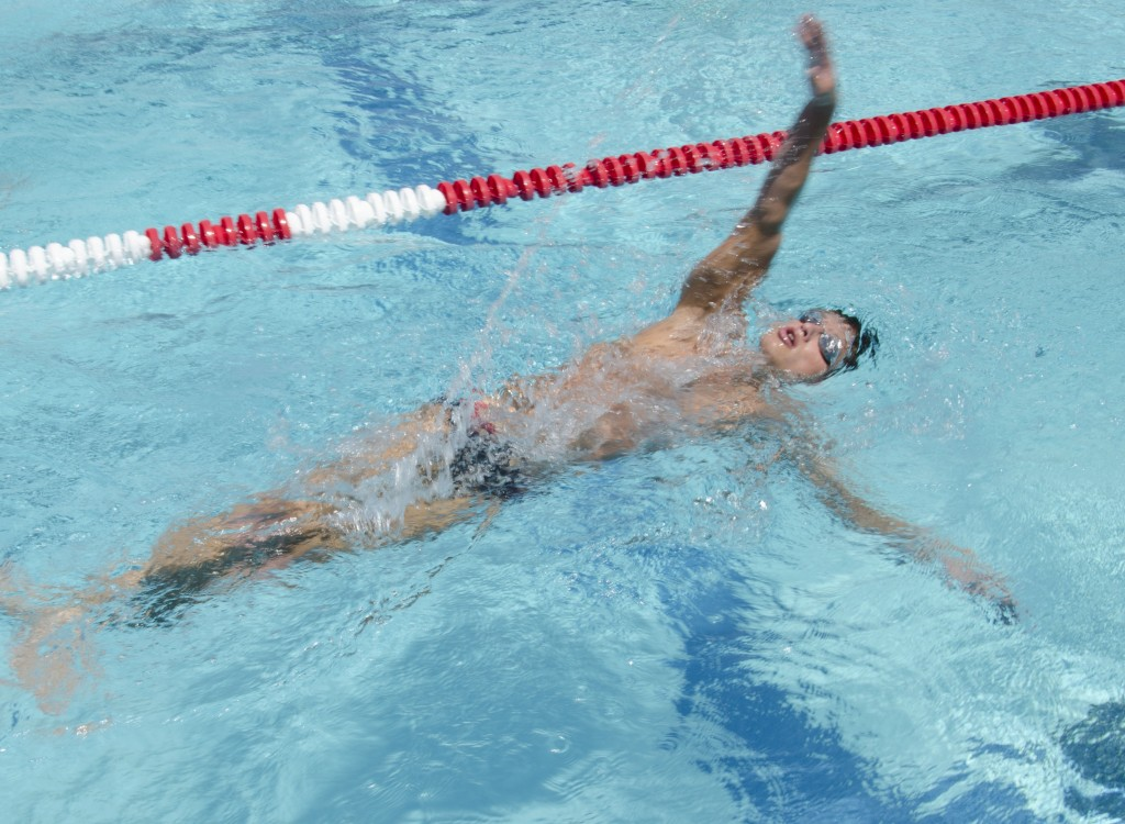 Sophomore swimmer Brian Fedorov continues his swim workouts after the season has ended. Photo by David Paz.