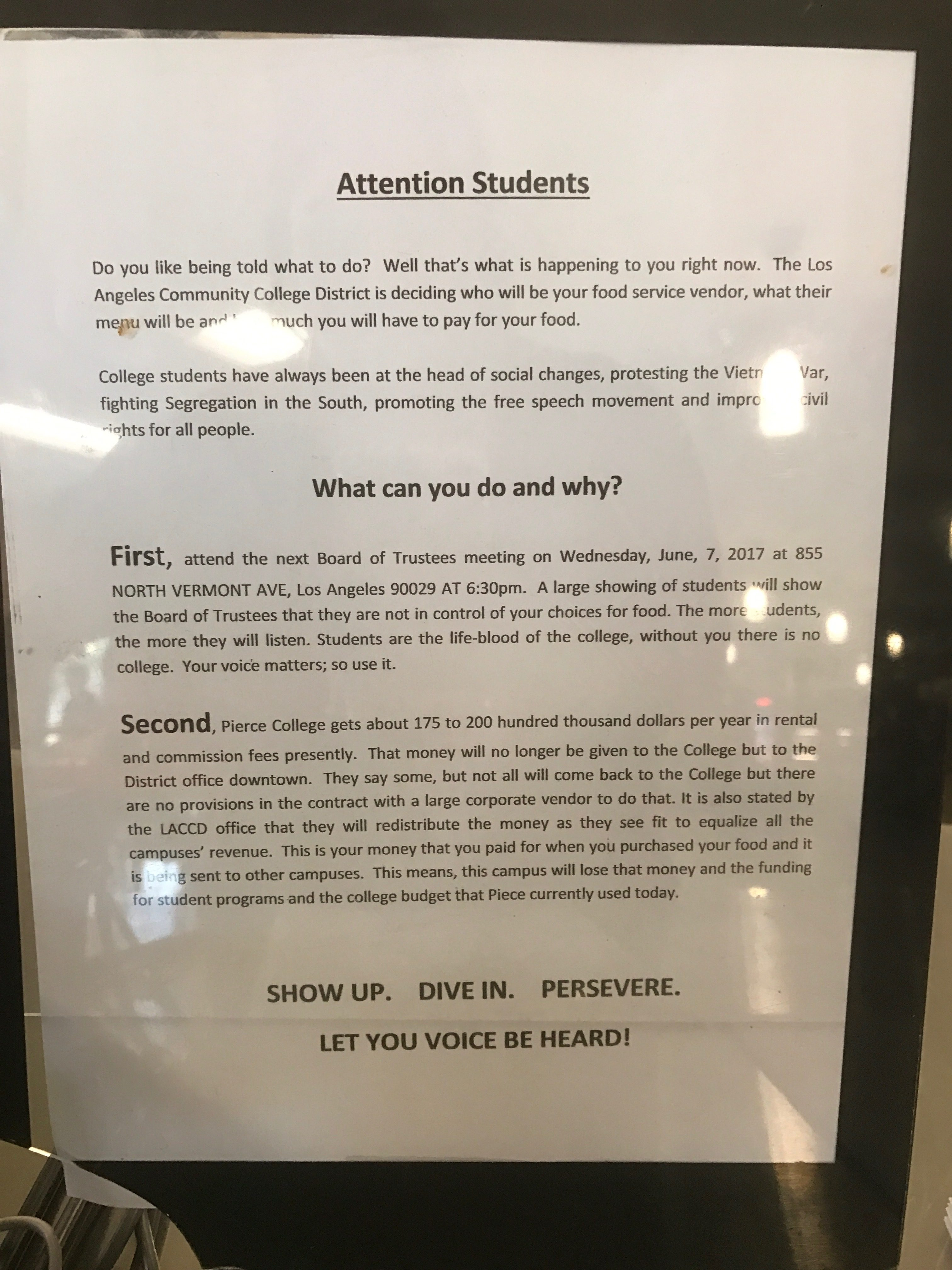 Falafelicious Catering and students to protest at BOT meeting