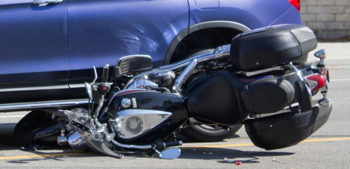 Car versus motorcycle collision on Winnetka Ave