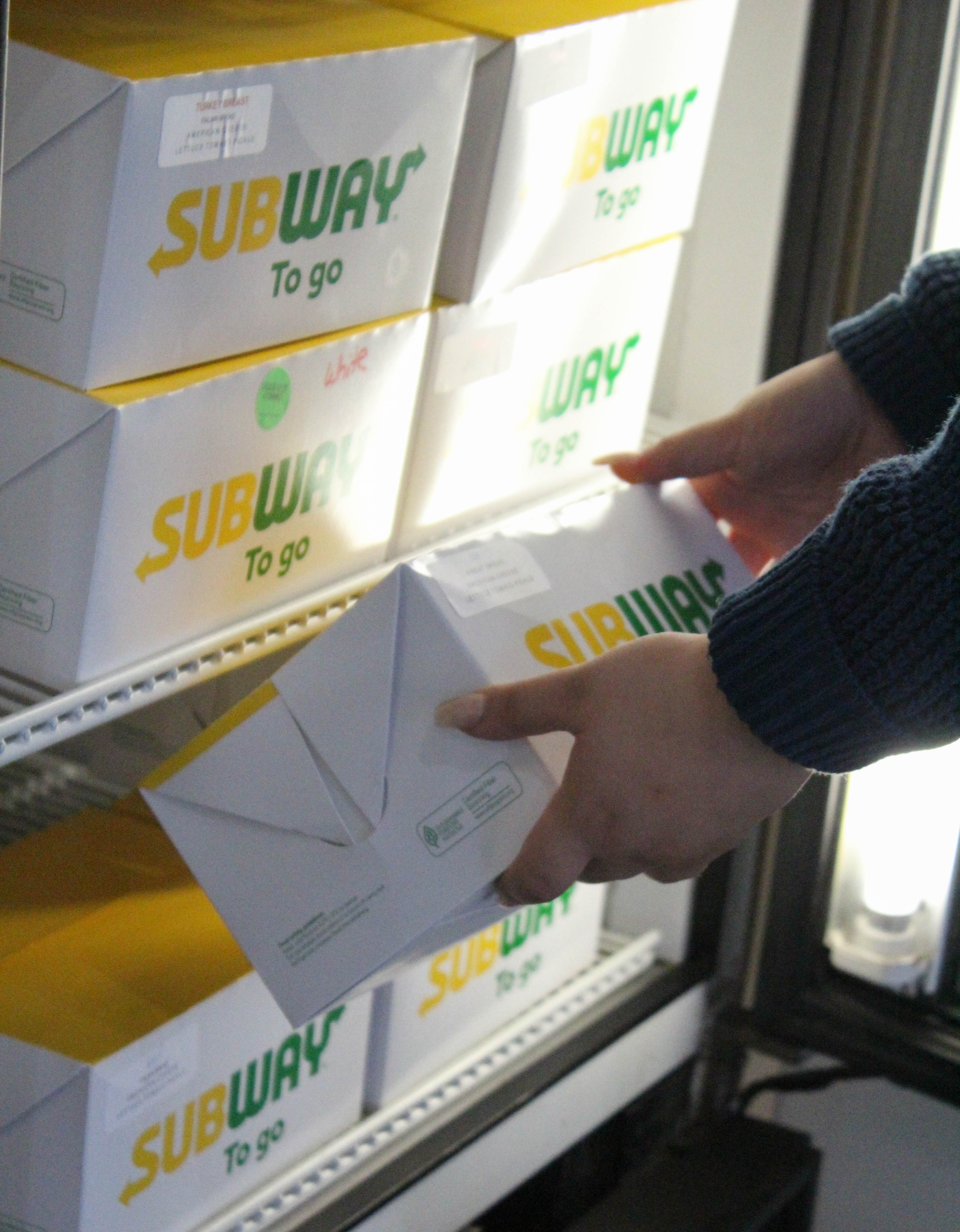 Subway sandwiches are offered at Brahma Cafe