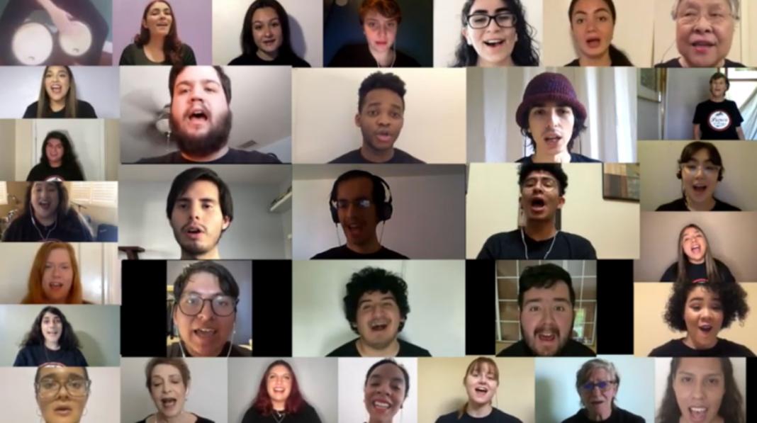 choir members perform in virtual video